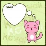 Kawaii tarjeta con lindo gato en el fondo grunge — Vector de stock
