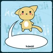 Kawaii card with cute cat on the grunge background. — Stock Vector