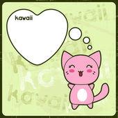Carta di kawaii con il simpatico gatto sullo sfondo grunge. — Vettoriale Stock