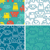 Cartoon robots seamless patterns. — Stock Vector