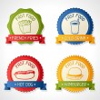 Set of badges with burger, hot dog, french-fry and drink. — Stock Vector #22362807
