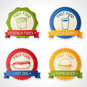 Set of badges with burger, hot dog, french-fry and drink. — Stock Vector