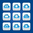 Collection of apps icons with clouds. - Stock Vector