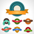 Set of vector labels, badges and ribbons. — Stock Vector
