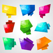 Multicolored speech bubbles with abstract triangular background. — Stock Vector
