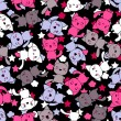 Seamless pattern with cute kawaii doodle cats. — Векторная иллюстрация