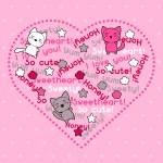 cartão com cute kawaii doodle gatos — Vetorial Stock