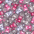 Seamless pattern with cute kawaii doodle cats. — 图库矢量图片