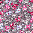 Seamless pattern with cute kawaii doodle cats. — Stock vektor