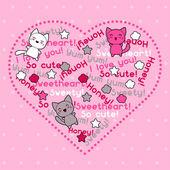 Card with cute kawaii doodle cats. — Stock Vector