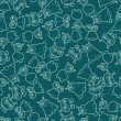 Abstract seamless pattern with cute monsters. - Vettoriali Stock