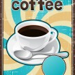 Poster with a coffee cup in retro style. — Vettoriali Stock