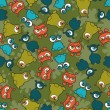 Abstract seamless pattern with cute monsters. - Image vectorielle