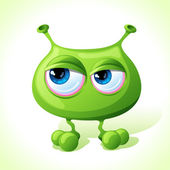 Vector cute green monster isolated on white background. — Stock Vector
