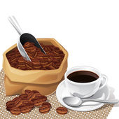 Background with cup and bag of coffee beans. — Stock Vector