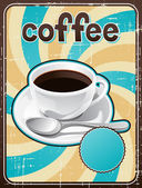 Poster with a coffee cup in retro style. — Stock Vector