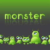 Abstract background with cute monsters. — Stock Vector
