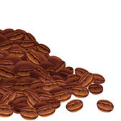 Vector background with scattered coffee beans. — Stock Vector