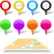 Set of map markers and abstract map. — Stock Vector