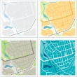 Set of 4 abstract maps. — Vettoriale Stock