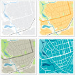 Set of 4 abstract maps. — Image vectorielle