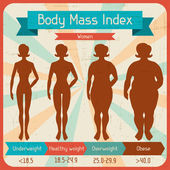 Body mass index retro poster. — Stock Vector