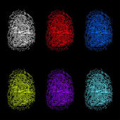 Set of color fingerprints on black background. — Stock Vector