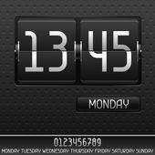 Horloge flip mécanique avec date. — Vecteur
