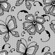 Seamless lace pattern with butterflies and flowers. — Stock Vector