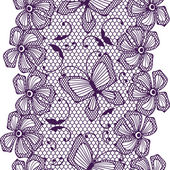 Seamless lace pattern with butterflies and flowers. — Cтоковый вектор