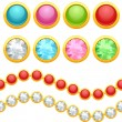 Set of round jewelery buttons and seamless chain. - Stock Vector