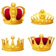 Stock Vector: Set of gold crowns isolated.