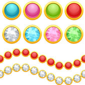 Set of round jewelery buttons and seamless chain. — Stock Vector
