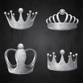 Set of old silver crowns isolated. — Stock Vector