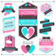 Stock Vector: Wedding invitation retro set of design elements.