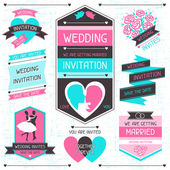 Wedding invitation retro set of design elements. — Stock Vector