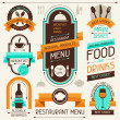 Restaurant menu, banners and ribbons, design elements. — Stok Vektör #24731857