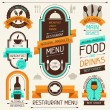 Restaurant menu, banners and ribbons, design elements. — Vettoriale Stock #24731857