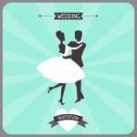 Wedding invitation retro card. — Stock Vector