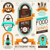 Menu de restaurant, des bannières et des rubans, des éléments de conception. — Vecteur