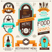 Restaurant menu, banners and ribbons, design elements. — Stok Vektör