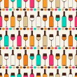 Seamless retro pattern with bottles of wine and glasses. — Stock Vector
