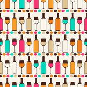 Nahtlose retro muster mit flaschen wein und gläser. — Stockvektor