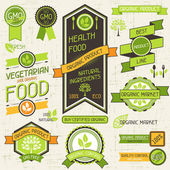 Organic food banners. Set of labels and stickers. — Stock Vector