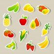 Set of fruit and vegetables stickers. — Imagen vectorial