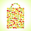 Fruits and vegetables in the shape of shopping bag. - Stock Vector