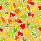 Owoce i warzywa wzór. — Wektor stockowy