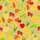 Padrão sem emenda de frutas e legumes. — Vetorial Stock