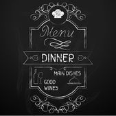 Dinner on the restaurant menu chalkboard. — Stock Vector