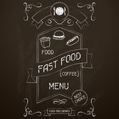 Fast food on the restaurant menu chalkboard. — Stock Vector